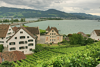 View over Rapperswil and Lake Zurich from the castle Switzerland