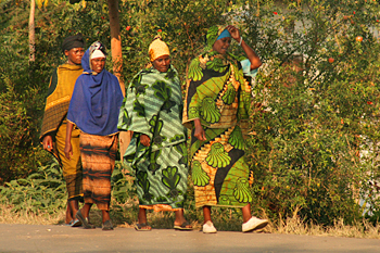 Women wearing traditional dress in Mto wa Mbu Tanzania