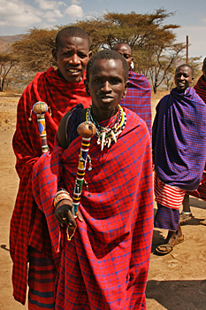 Maasai Warriors in Ngorongoro Conservation area Tanzania