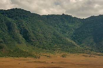 Switchback road up to the rim gives some idea of the immensity of the Ngorongoro Crater Tanzania