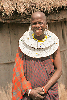 Molellani midwife in a Maasai village in Tanzania