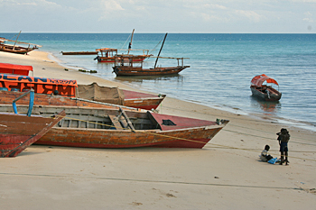 Traditional boats on the beach