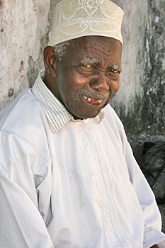 Joyful smile from an elderly Muslim man in Zanzibar