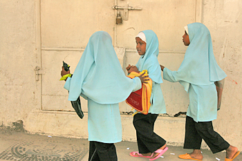 Happy Muslim school girls in Zanzibar