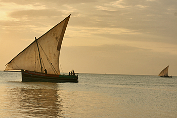 Traditional dhow at sunset in Zanzibar