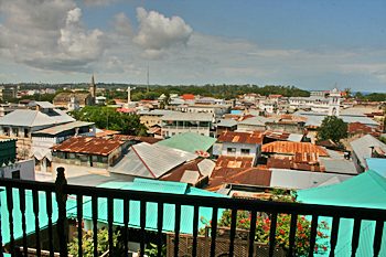 View of Stone Town from the roof terrace of the Clove Hotel