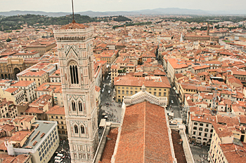 Looking over Florence from atop Santa Maria Del Fiore Cathedral in Florence Italy
