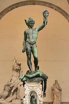 Perseus with Medusa head in the Uffizi outdoor gallery in Florence, Italy