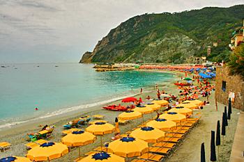 Beach at Monterosso in Cinque Terre Italy
