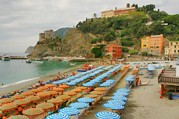 Eastern part of Monterosso, around the rocky outcropin Cinque Terre Italy
