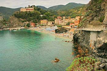 Pocket beach on eastern side of Monterosso in Cinque Terre Italy