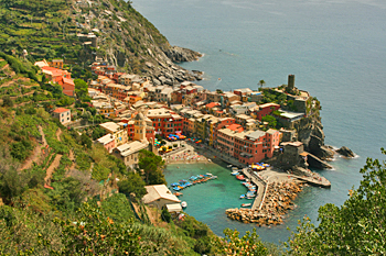 High on the trail, looking down on Vernazza's gorgeous harbor in Cinque Terre Italy