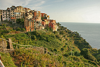 Approaching Corniglia on the walking trail in Cinque Terre Italy