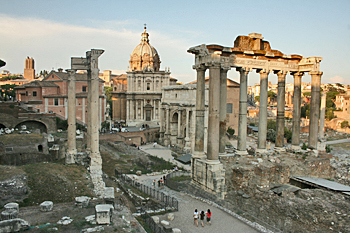 View over the Roman Forum from the road leading up to Capitoline Hill in Rome Italy