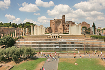 Temple Of Amor and Roma in the Roman Forum, as seen from inside the Colosseum