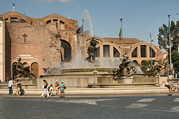 The fountain in Republica Piazza, in front of Santa Maria Angeli And Martiri Basilica in Rome Italy