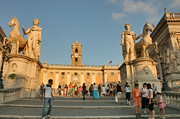 Top of Capitoline Hill, with its two museums