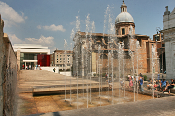 Ara Pacis Museum and fountain in Rome Italy