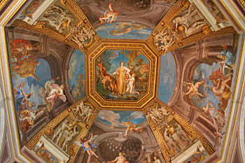 Painted dome in the Sistine Chapel in Vatican City Italy