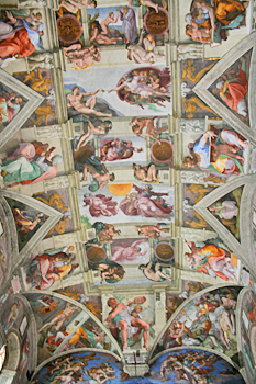 Closeup of Michelangelo's famous ceiling in the Sistine Chapel in Vatican City Rome Italy