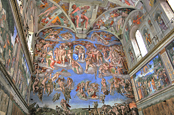 Closeup of Michelangelo's work on one of the walls of the Sistine Chapel in Vatican City Italy