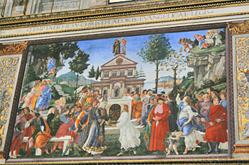 Considered to be one of the four most important of the frescoes, The Temptations of Christ by Botticelli is on display in the Sistine Vhapel in Vatican City Italy