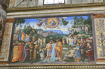 The Baptism of Christ by Perugino in the Sistine Chapel in Vatican City Italy