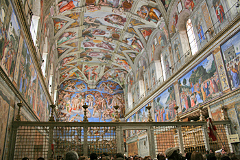 Michelangelo's famous mural, The Last Judgment, on the ceiling of the Sistine Chapel in Vatican City Rome Italy