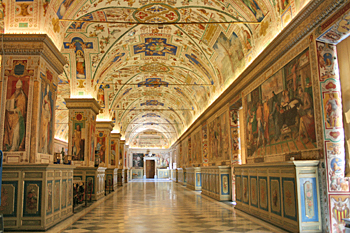 Every surface is decorated in the Sistine Chapel in Vatican City Rome Italy