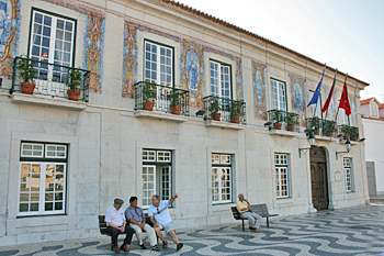 Town Hall in Cascais Portugal is decorated with Azulejo tiles