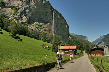 Looking back at Staubbach Falls, on the way to Trummelbach Waterfall Switzerland