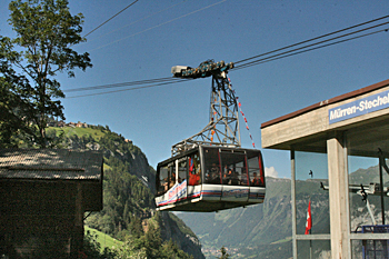Cable car to the high mountain village of Gimmelwald Switzerland