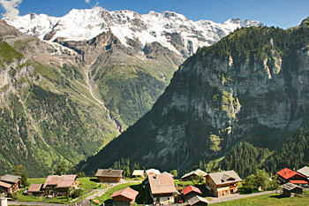 View of Alps from Gimmelwald Switzerland