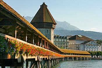 Chapel Bridge over the Reuss River in Lucerne Switzerland