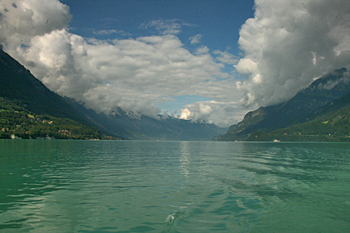 Lake Brienz colors are spectacular in late afternoon light Switzerland