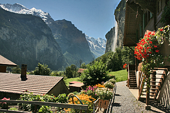 Staubbach Falls stream off the mountain in Lauterbrunnen Switzerand