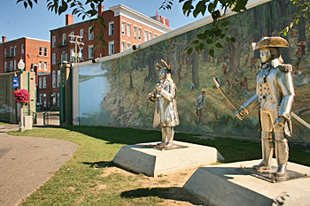Towpath trail along the Ohio River, Point Pleasant, West Virginia features hand-painted murals