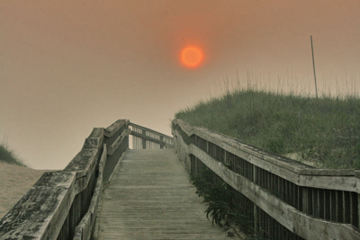 Outer Banks wildfire red sun