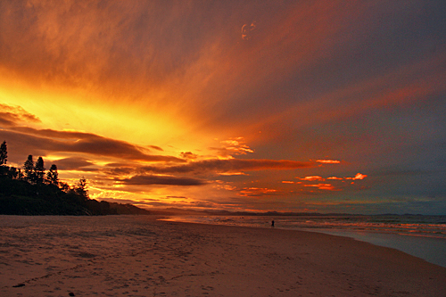 Beautiful sunset on the beach at Byron Bay, Australia