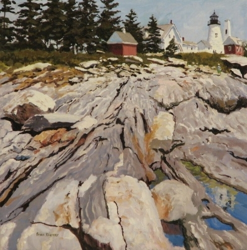 High Sun, Pemaquid Point, oil on canvas, 10 x 10, available from the Geary Gallery in Darien, Maine for $1,000