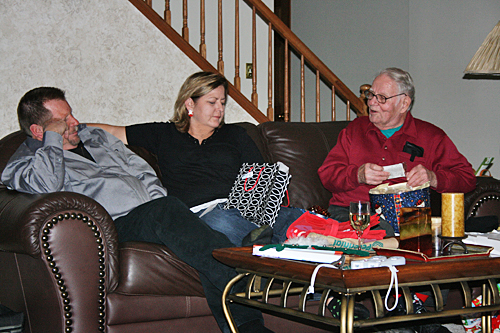 Opening gifts, another big part of the Weibel Christmas story