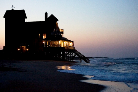 """The ocean sweeps beneath the house where """"Nights In Rodathe"""" was filmed"""