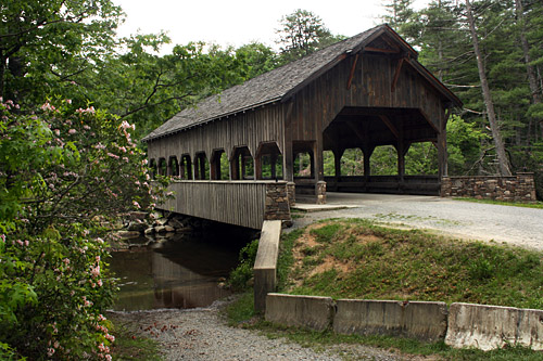 Covered Bridge atop High Falls, DuPont State Forest, Brevard, North Carolina