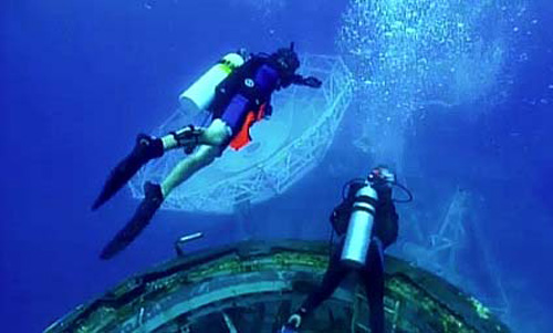 USS Vandenberg sunk off the coast of Key West. Image courtesy of video.wpbt2.org.