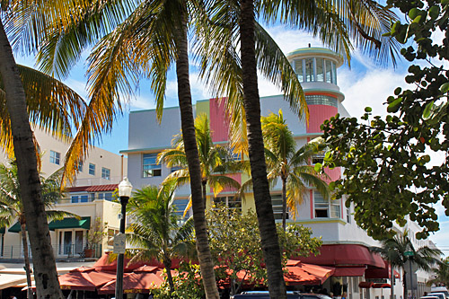 Palette of pastel colors adorn the famous art deco architecture of Miami Beach