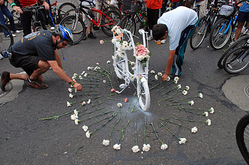 Ghost bikes, this one in memorium of bicyclist Nicole Cañón, who was killed by a motorist in Bogota, Colombia