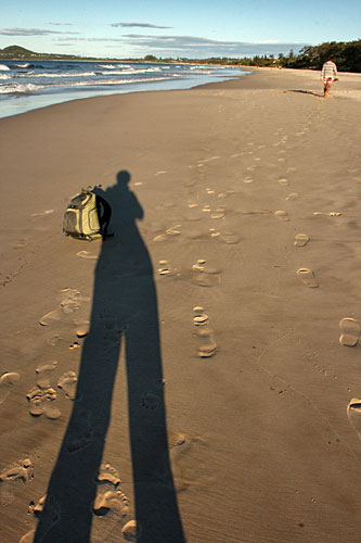 I let my shadow lug around my backpack while I relaxed on the beach in Buron Bay, Australia