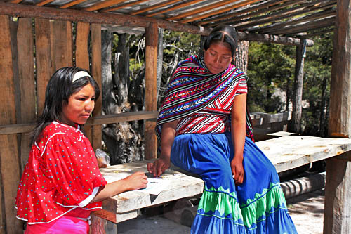 Tarahumara Indian girls at Cusarare Waterfall Park near Creel