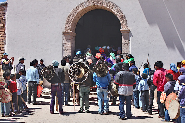 Palm Sunday celebration in Mision Cinco Santos de Cusarare in Copper Canyon Mexico