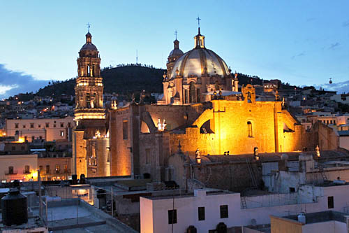 View of Zacatecas Cathedral from my rooftop room at Hostal Villa Colonial